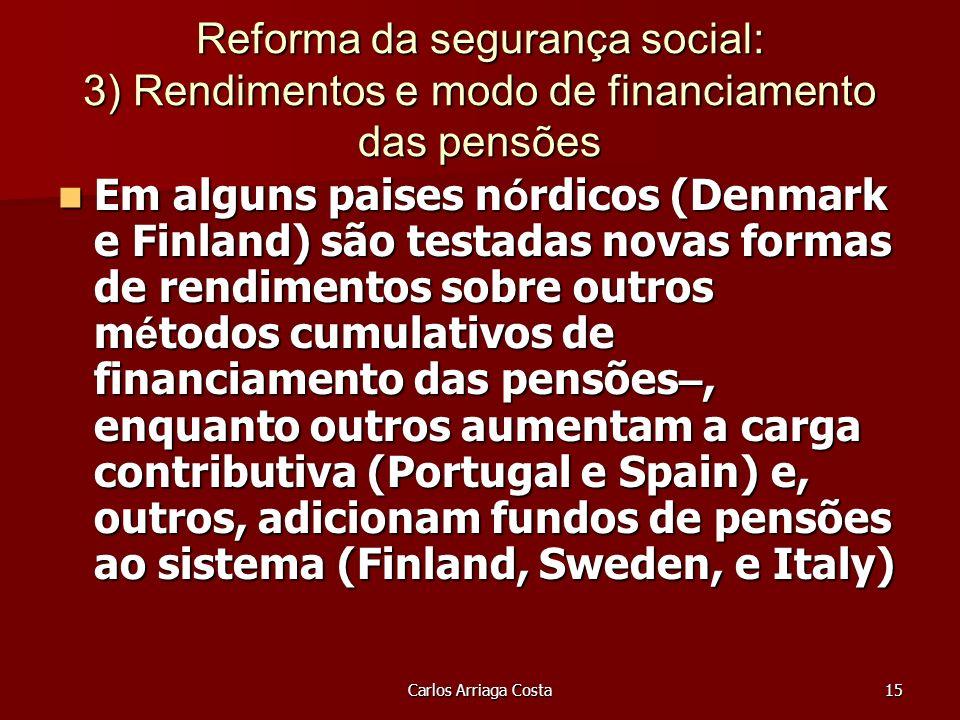 Carlos Arriaga Costa15 Reforma da segurança social: 3) Rendimentos e modo de financiamento das pensões Em alguns paises n ó rdicos (Denmark e Finland) são testadas novas formas de rendimentos sobre outros m é todos cumulativos de financiamento das pensões –, enquanto outros aumentam a carga contributiva (Portugal e Spain) e, outros, adicionam fundos de pensões ao sistema (Finland, Sweden, e Italy) Em alguns paises n ó rdicos (Denmark e Finland) são testadas novas formas de rendimentos sobre outros m é todos cumulativos de financiamento das pensões –, enquanto outros aumentam a carga contributiva (Portugal e Spain) e, outros, adicionam fundos de pensões ao sistema (Finland, Sweden, e Italy)