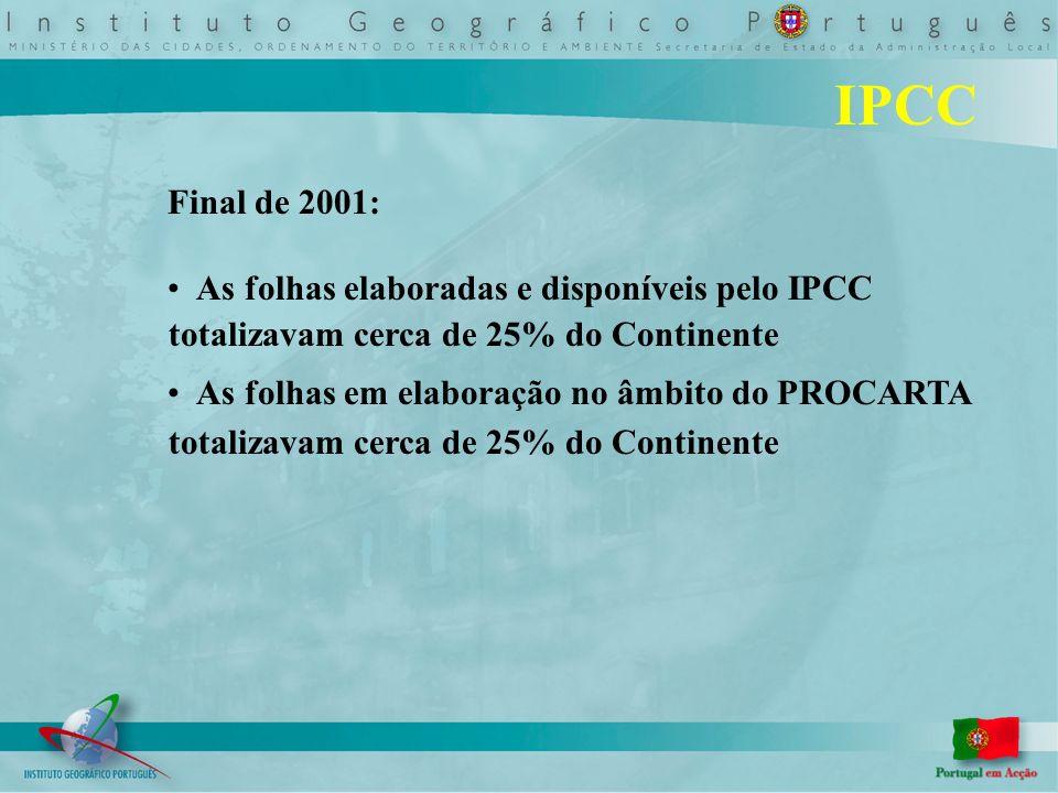 IPCC Final de 2001: As folhas elaboradas e disponíveis pelo IPCC totalizavam cerca de 25% do Continente As folhas em elaboração no âmbito do PROCARTA totalizavam cerca de 25% do Continente