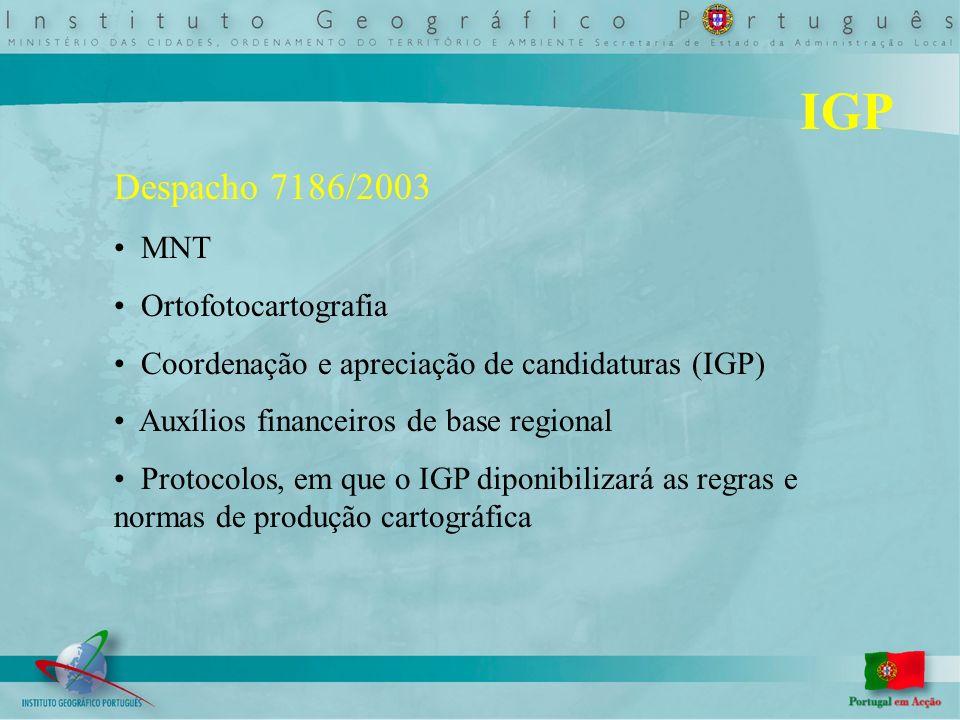 IGP Despacho 7186/2003 MNT Ortofotocartografia Coordenação e apreciação de candidaturas (IGP) Auxílios financeiros de base regional Protocolos, em que