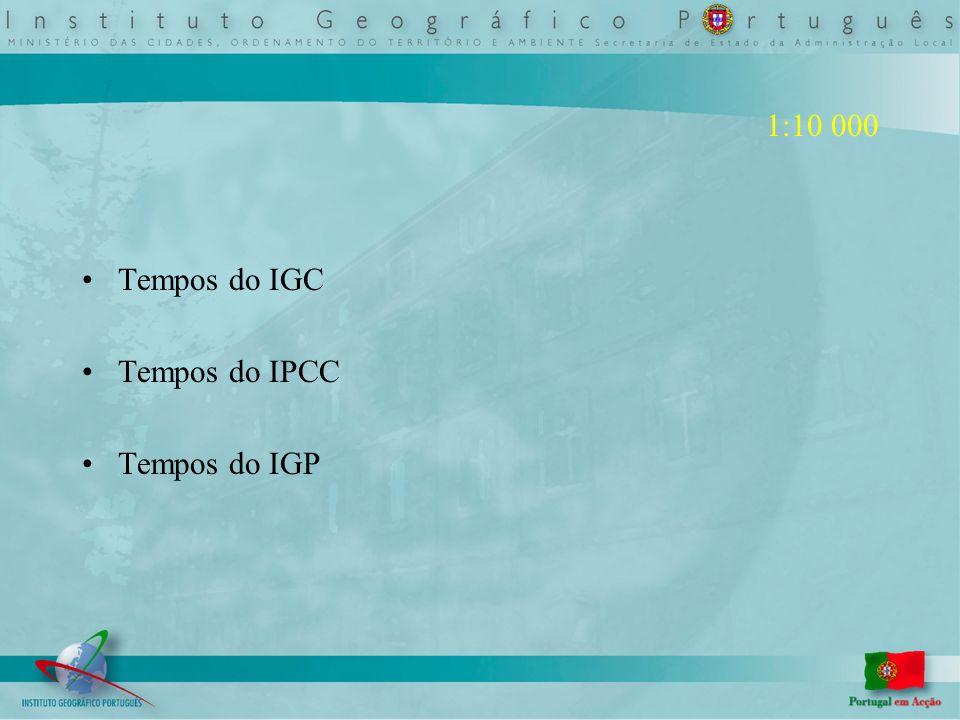 1:10 000 Tempos do IGC Tempos do IPCC Tempos do IGP