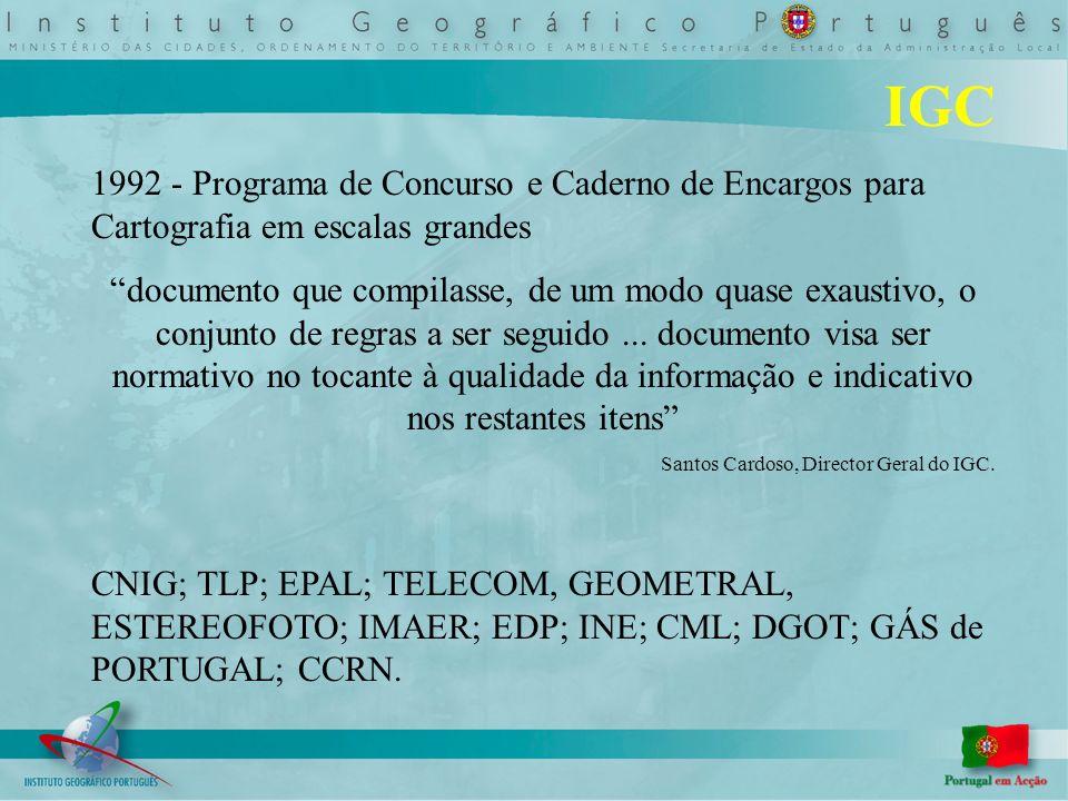 IPCC QCA 2 Abril de 1995 aprovado o financiamento de 595 000 contos para eleboração de cartografia 1:10 000 1995 Lançamento do 1º concurso 2000 Lançado o último concurso Gauss Ponto Central Fictício (180.598 m W e 86.990 m N do PC) Hayford 73 Cascais 80 cm X 50 cm