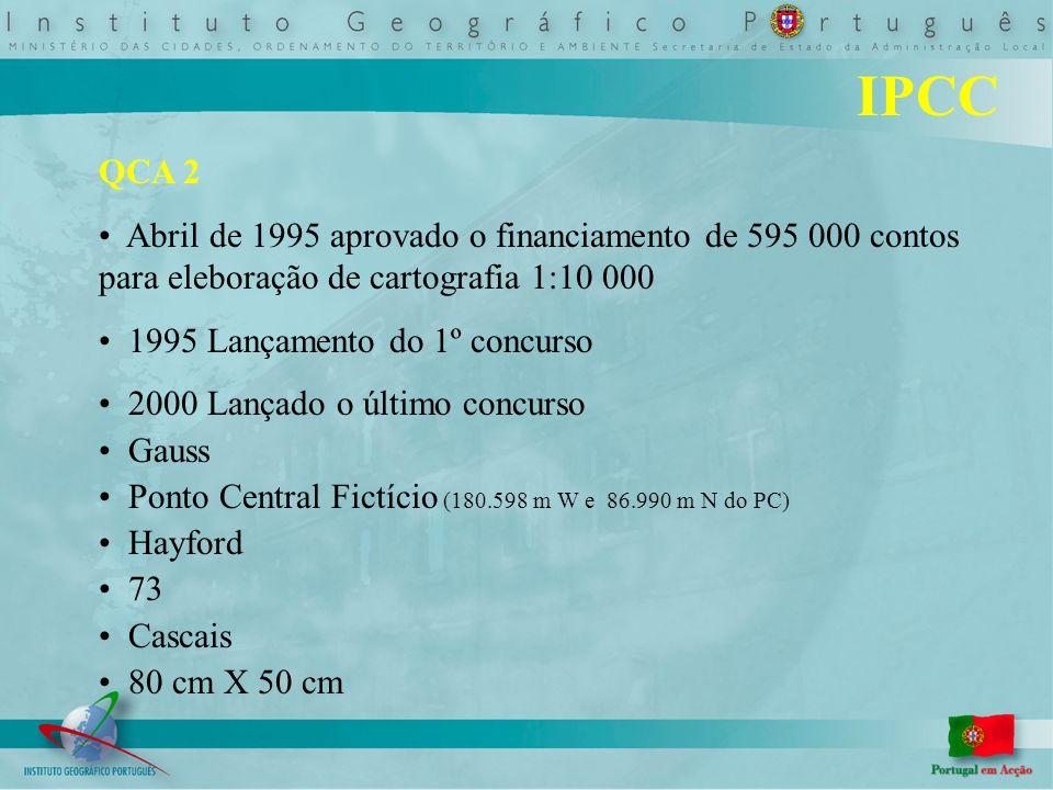 IPCC QCA 2 Abril de 1995 aprovado o financiamento de 595 000 contos para eleboração de cartografia 1:10 000 1995 Lançamento do 1º concurso 2000 Lançad