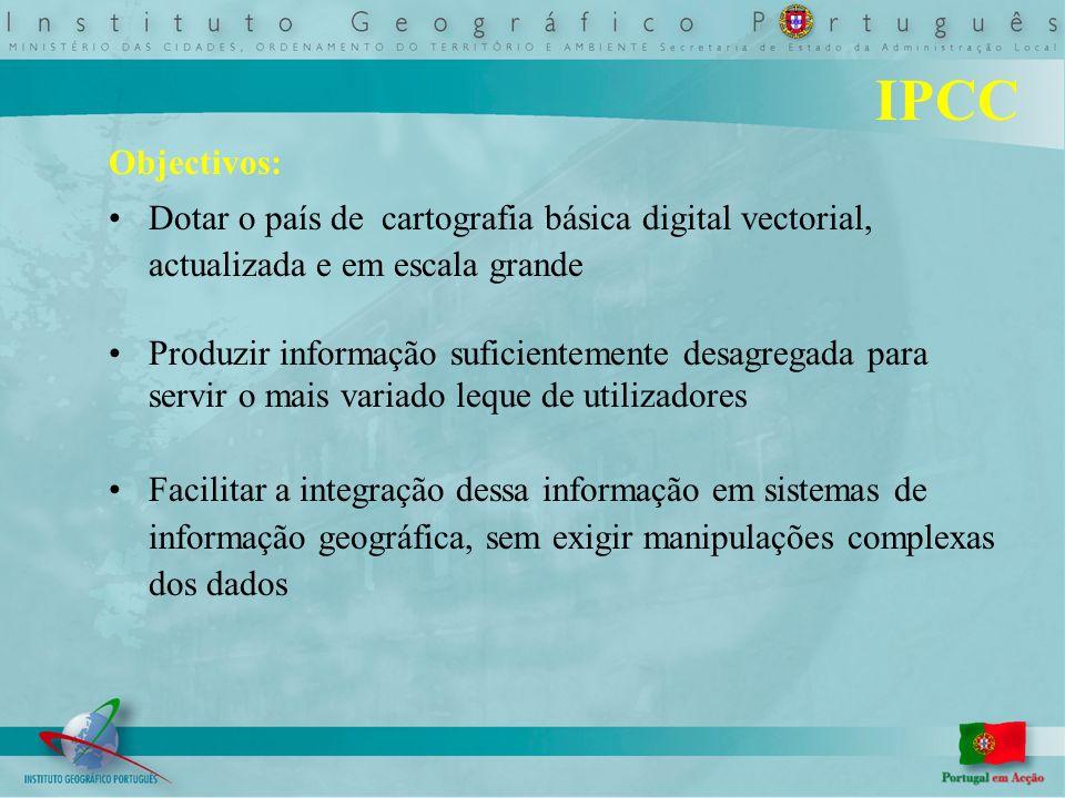 Objectivos: Dotar o país de cartografia básica digital vectorial, actualizada e em escala grande Produzir informação suficientemente desagregada para