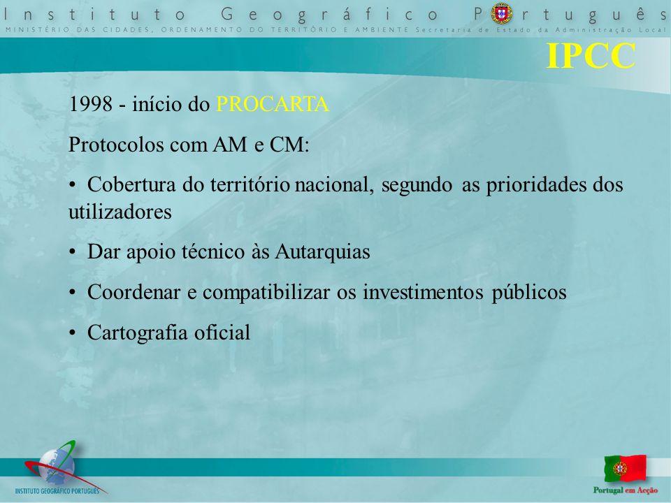 IPCC 1998 - início do PROCARTA Protocolos com AM e CM: Cobertura do território nacional, segundo as prioridades dos utilizadores Dar apoio técnico às Autarquias Coordenar e compatibilizar os investimentos públicos Cartografia oficial