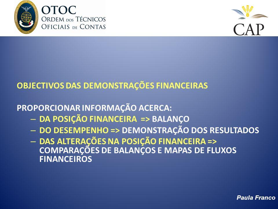 Paula Franco OBJECTIVOS DAS DEMONSTRAÇÕES FINANCEIRAS PROPORCIONAR INFORMAÇÃO ACERCA: – DA POSIÇÃO FINANCEIRA => BALANÇO – DO DESEMPENHO => DEMONSTRAÇ