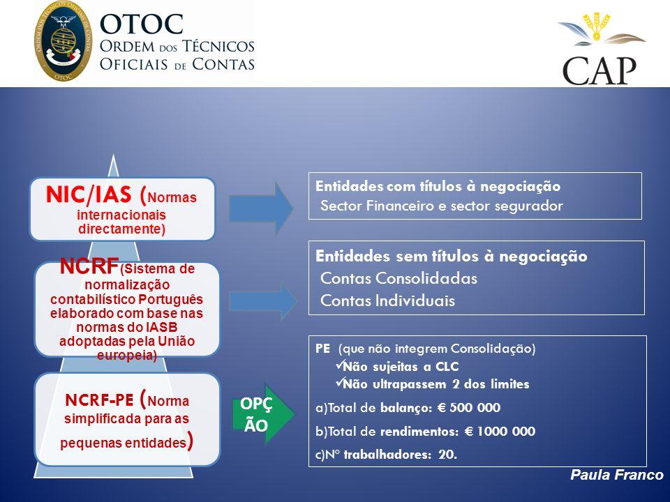Paula Franco NCRF-PE ( Norma simplificada para as pequenas entidades ) NCRF (Sistema de normalização contabilístico Português elaborado com base nas n
