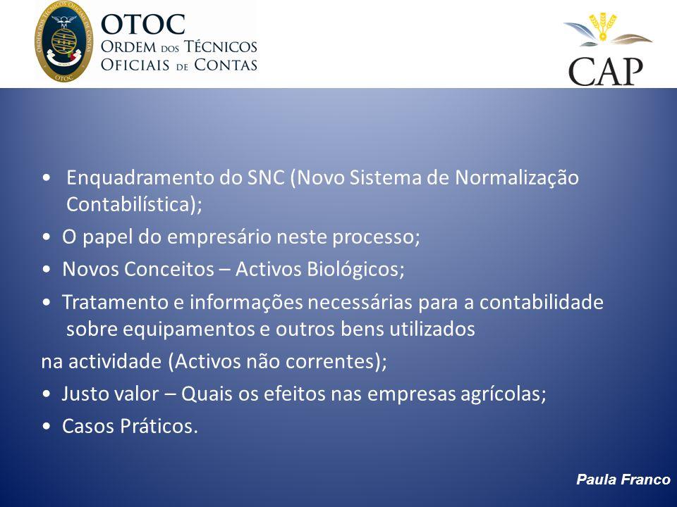 Paula Franco Enquadramento do SNC (Novo Sistema de Normalização Contabilística); O papel do empresário neste processo; Novos Conceitos – Activos Bioló
