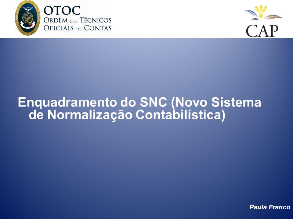 Paula Franco Introdução ao SNC (Novo Sistema de Normalização Contabilística) Foi publicado pelo Decreto –Lei 158/2009 de 13 de Julho