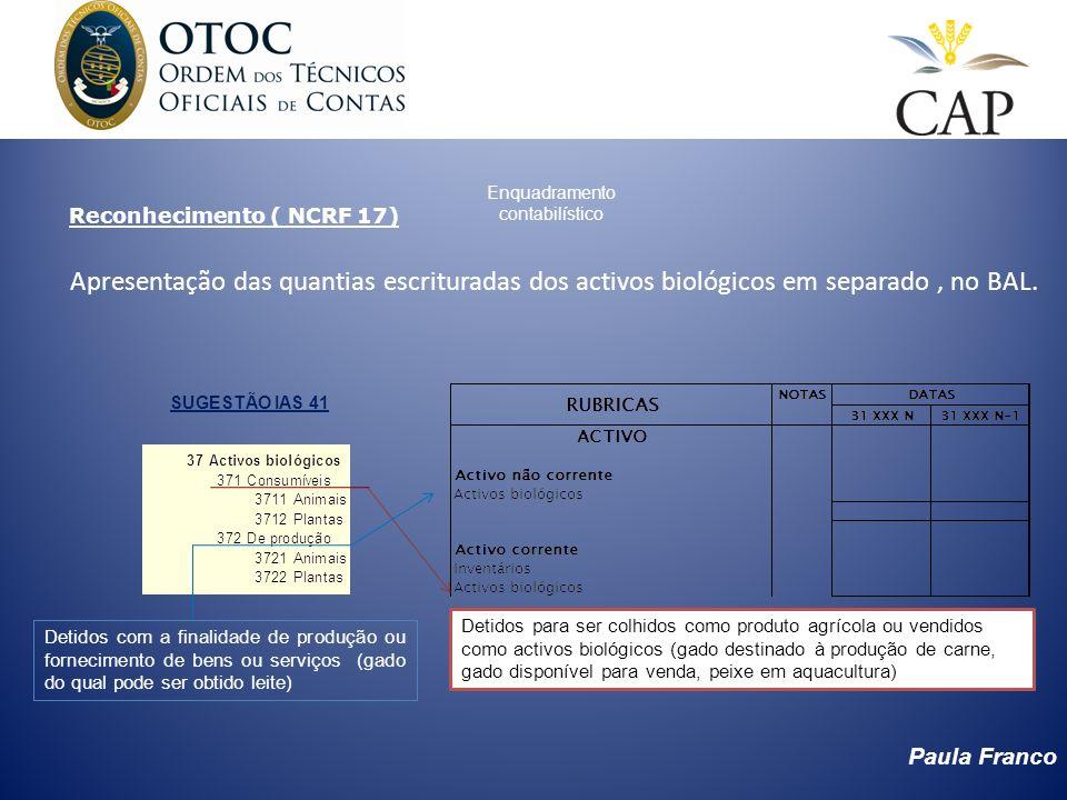 Paula Franco Enquadramento contabilístico Apresentação das quantias escrituradas dos activos biológicos em separado, no BAL. Reconhecimento ( NCRF 17)