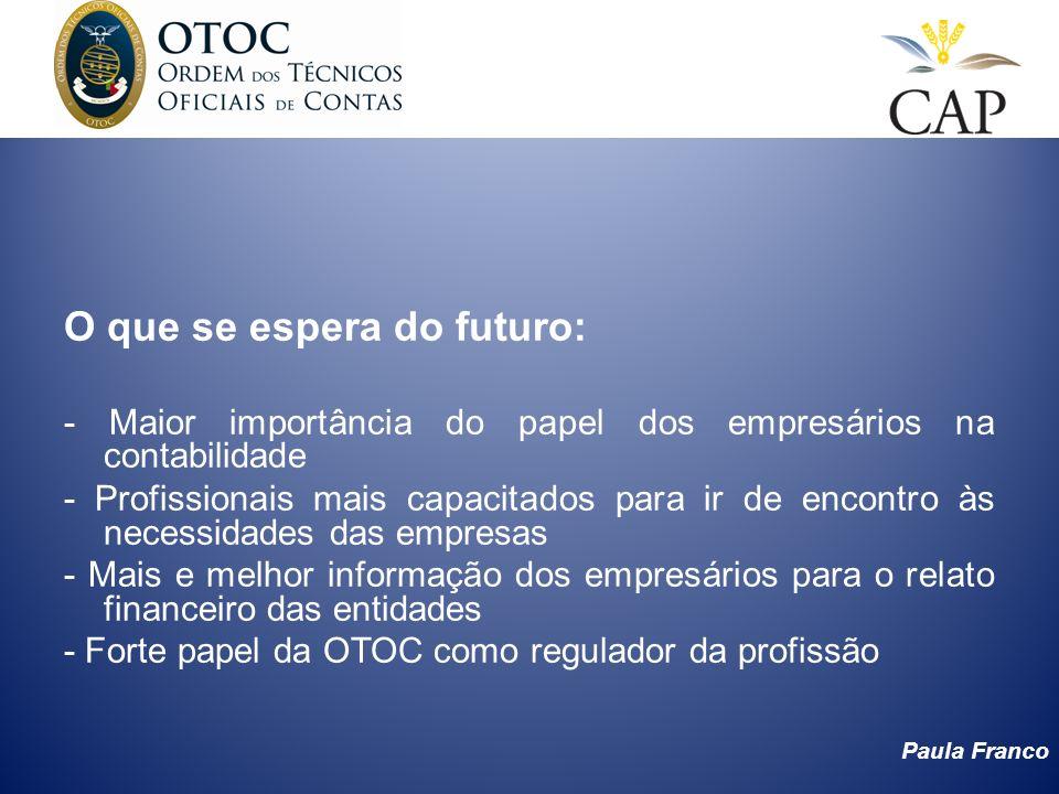 Paula Franco O que se espera do futuro: - Maior importância do papel dos empresários na contabilidade - Profissionais mais capacitados para ir de enco