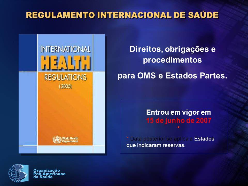 Organização Pan-Americana da Saúde REGULAMENTO INTERNACIONAL DE SAÚDE Direitos, obrigações e procedimentos para OMS e Estados Partes.