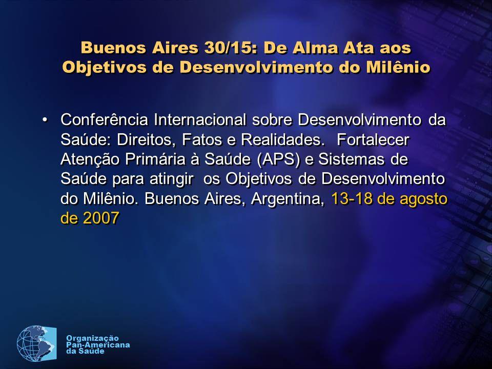 Organização Pan-Americana da Saúde Buenos Aires 30/15: De Alma Ata aos Objetivos de Desenvolvimento do Milênio Conferência Internacional sobre Desenvolvimento da Saúde: Direitos, Fatos e Realidades.