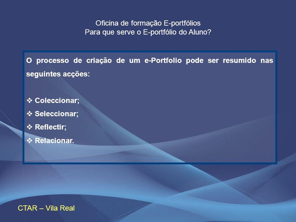Oficina de formação E-portfólios Para que serve o E-portfólio do Aluno? CTAR – Vila Real O processo de criação de um e-Portfolio pode ser resumido nas