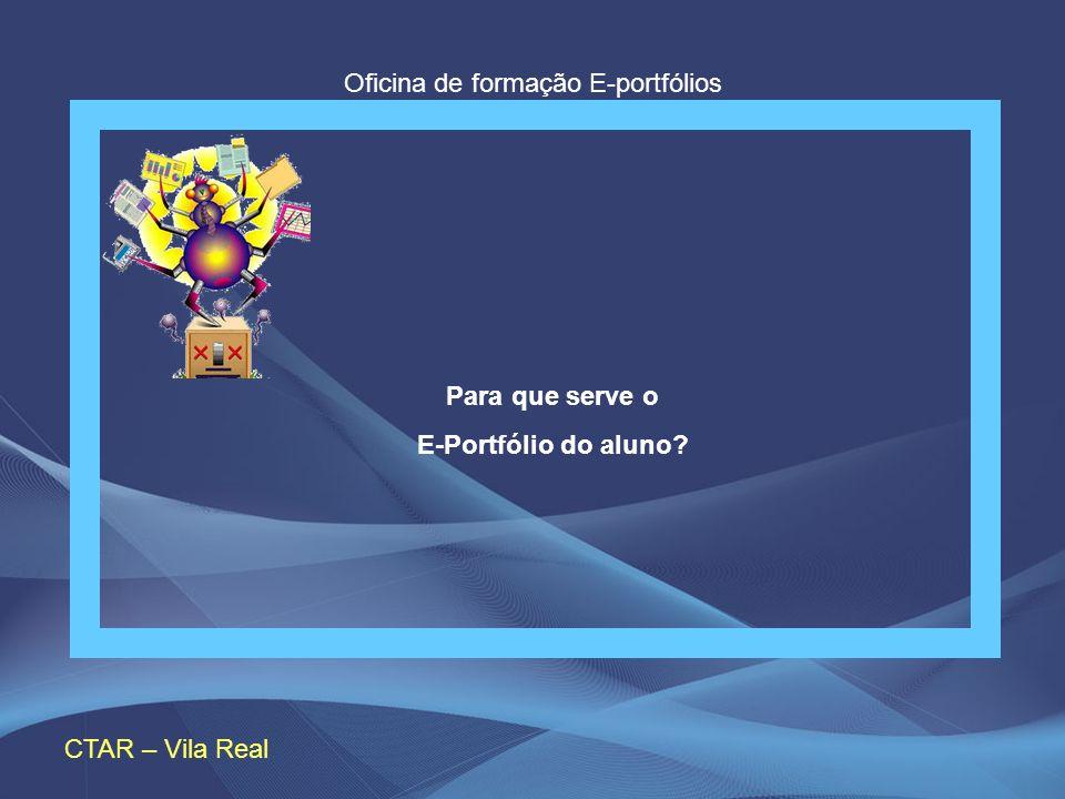 Oficina de formação E-portfólios Para que serve o E-portfólio do Aluno? CTAR – Vila Real Para que serve o E-Portfólio do aluno?