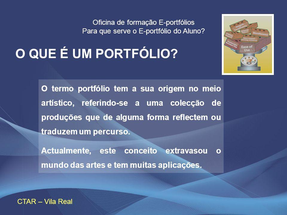 Oficina de formação E-portfólios Para que serve o E-portfólio do Aluno? CTAR – Vila Real O QUE É UM PORTFÓLIO? O termo portfólio tem a sua origem no m