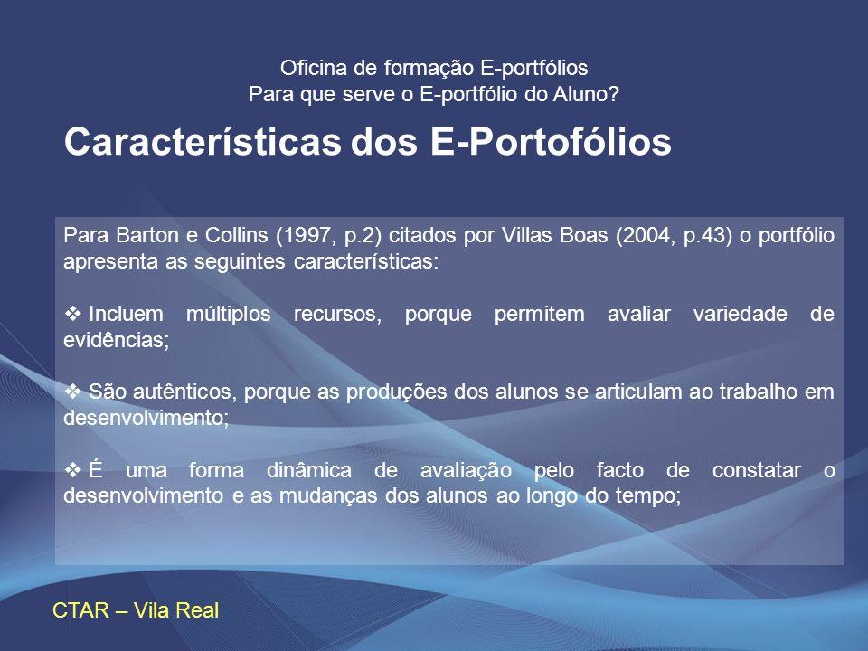 Oficina de formação E-portfólios Para que serve o E-portfólio do Aluno? CTAR – Vila Real Para Barton e Collins (1997, p.2) citados por Villas Boas (20