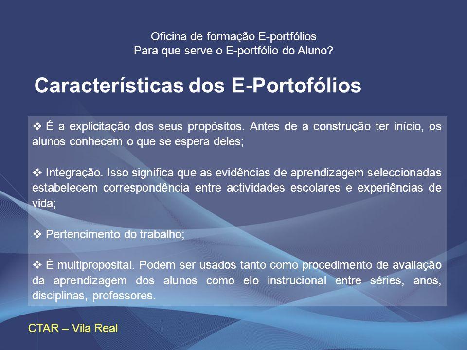Oficina de formação E-portfólios Para que serve o E-portfólio do Aluno? CTAR – Vila Real É a explicitação dos seus propósitos. Antes de a construção t