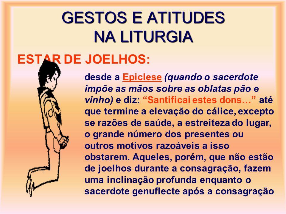 GESTOS E ATITUDES NA LITURGIA ESTAR DE JOELHOS: desde a Epiclese (quando o sacerdote impõe as mãos sobre as oblatas pão e vinho) e diz: Santificai est