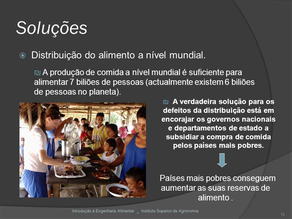 Soluções Distribuição do alimento a nível mundial. A produção de comida a nível mundial é suficiente para alimentar 7 biliões de pessoas (actualmente