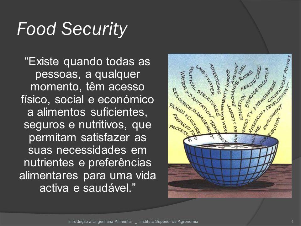 Food Security Existe quando todas as pessoas, a qualquer momento, têm acesso físico, social e económico a alimentos suficientes, seguros e nutritivos,