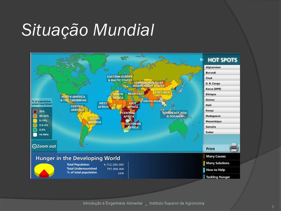 Situação Mundial Introdução à Engenharia Alimentar _ Instituto Superior de Agronomia 6