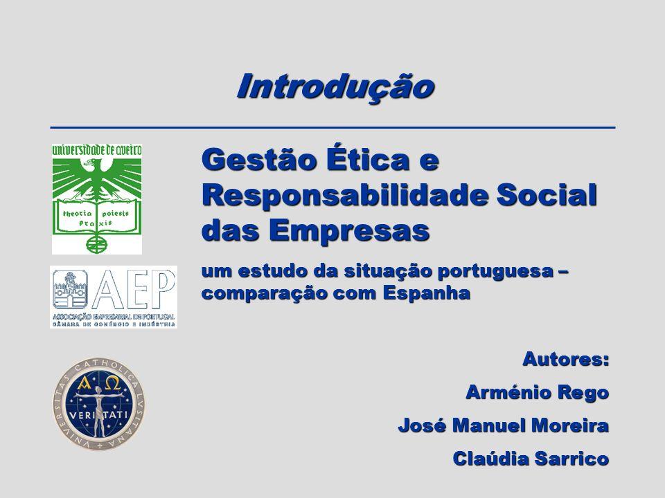 Introdução Gestão Ética e Responsabilidade Social das Empresas um estudo da situação portuguesa – comparação com Espanha Autores: Arménio Rego José Ma