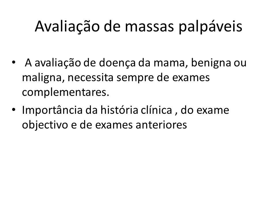 Avaliação de massas palpáveis A avaliação de doença da mama, benigna ou maligna, necessita sempre de exames complementares. Importância da história cl
