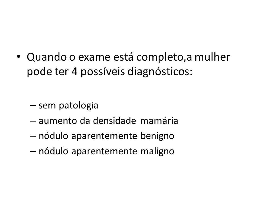 Quando o exame está completo,a mulher pode ter 4 possíveis diagnósticos: – sem patologia – aumento da densidade mamária – nódulo aparentemente benigno