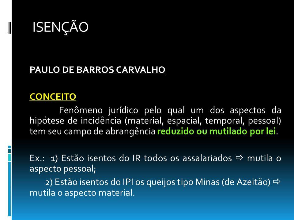 ISENÇÃO PAULO DE BARROS CARVALHO CONCEITO Fenômeno jurídico pelo qual um dos aspectos da hipótese de incidência (material, espacial, temporal, pessoal