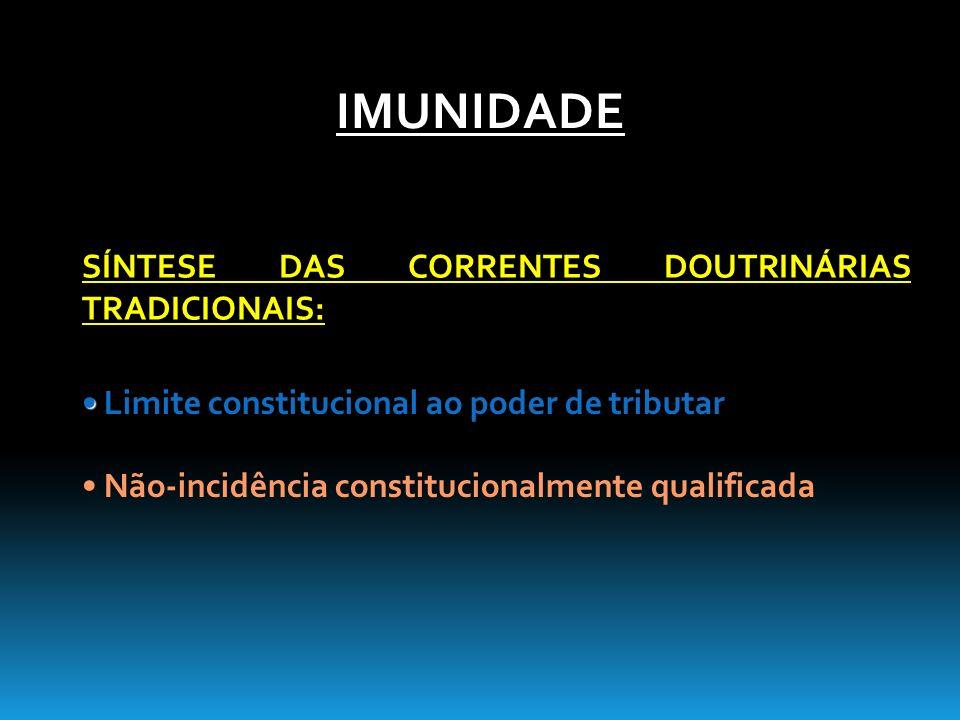Limite constitucional ao poder de tributar Não-incidência constitucionalmente qualificada SÍNTESE DAS CORRENTES DOUTRINÁRIAS TRADICIONAIS: IMUNIDADE