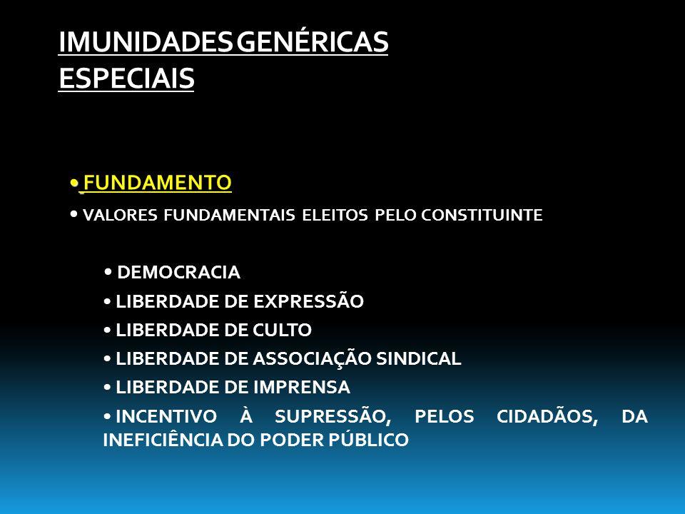 IMUNIDADES GENÉRICAS ESPECIAIS FUNDAMENTO VALORES FUNDAMENTAIS ELEITOS PELO CONSTITUINTE DEMOCRACIA LIBERDADE DE EXPRESSÃO LIBERDADE DE CULTO LIBERDAD