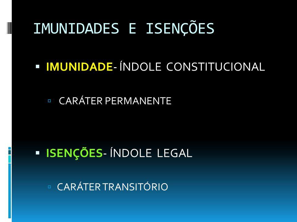 IMUNIDADES E ISENÇÕES IMUNIDADE- ÍNDOLE CONSTITUCIONAL CARÁTER PERMANENTE ISENÇÕES- ÍNDOLE LEGAL CARÁTER TRANSITÓRIO