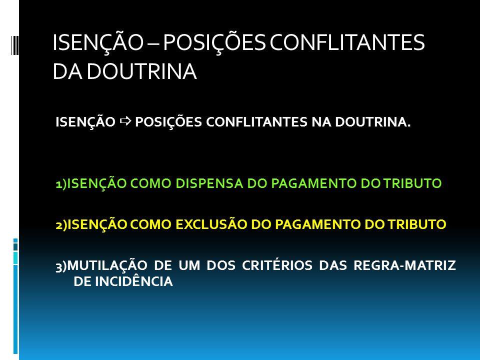 ISENÇÃO – POSIÇÕES CONFLITANTES DA DOUTRINA ISENÇÃO POSIÇÕES CONFLITANTES NA DOUTRINA. 1)ISENÇÃO COMO DISPENSA DO PAGAMENTO DO TRIBUTO 2)ISENÇÃO COMO