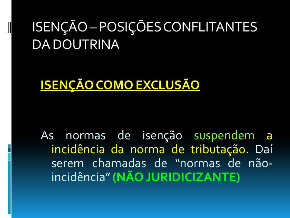 ISENÇÃO – POSIÇÕES CONFLITANTES DA DOUTRINA ISENÇÃO COMO EXCLUSÃO As normas de isenção suspendem a incidência da norma de tributação. Daí serem chamad