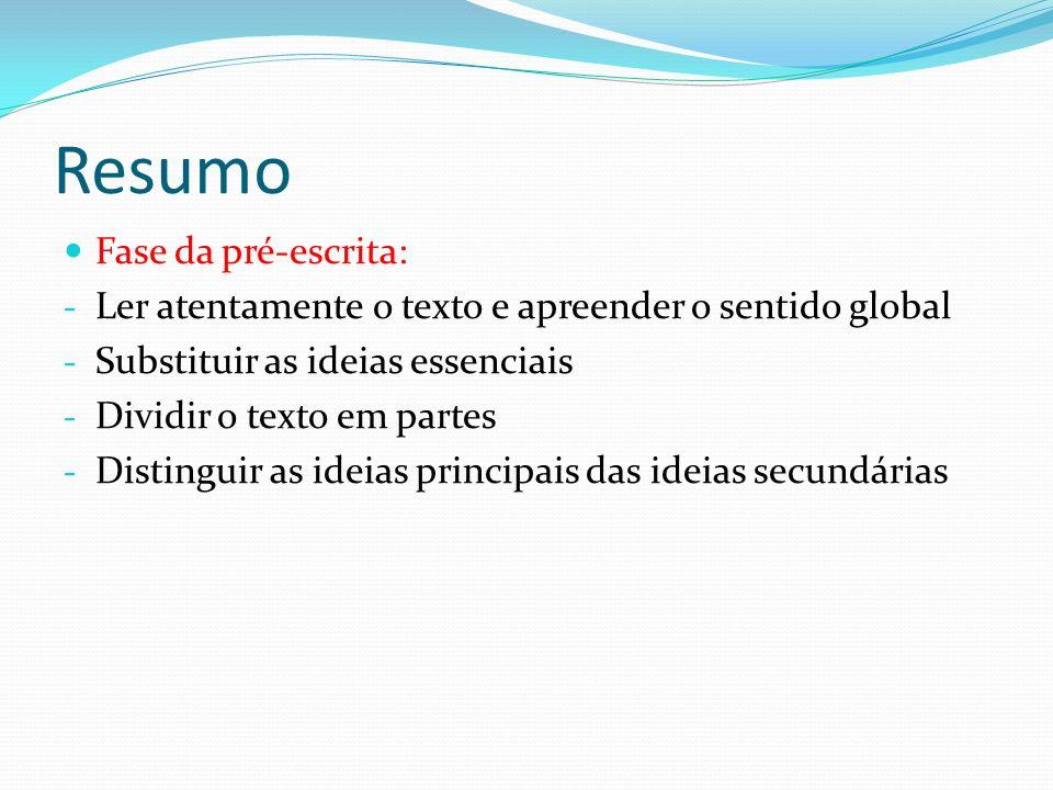 Resumo Fase da pré-escrita: - Ler atentamente o texto e apreender o sentido global - Substituir as ideias essenciais - Dividir o texto em partes - Dis