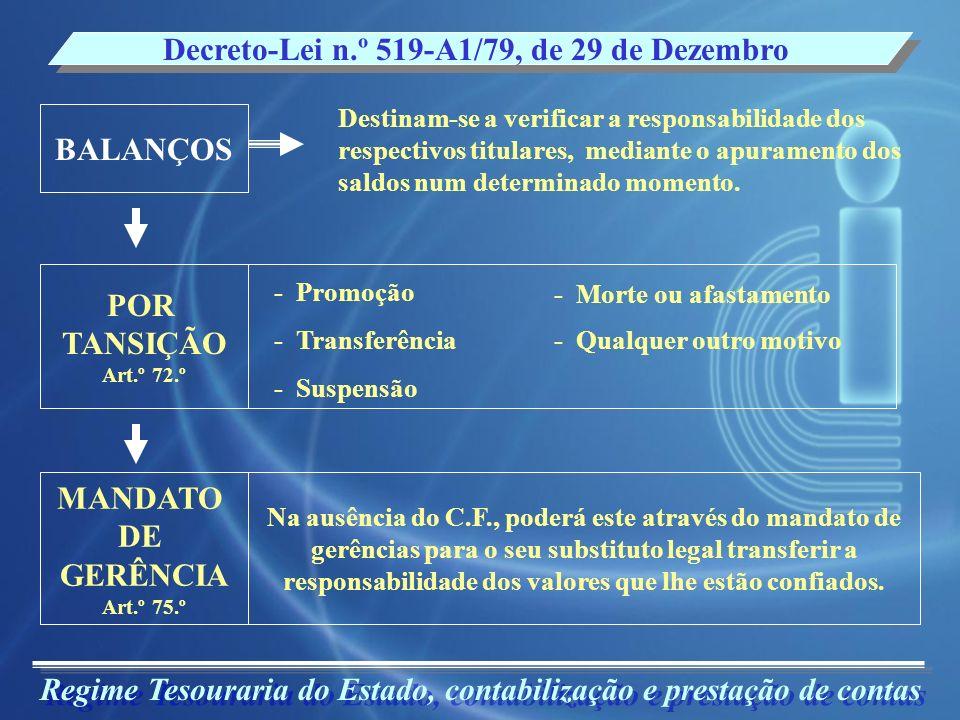 Regime Tesouraria do Estado, contabilização e prestação de contas Decreto-Lei n.º 519-A1/79, de 29 de Dezembro Destinam-se a verificar a responsabilid