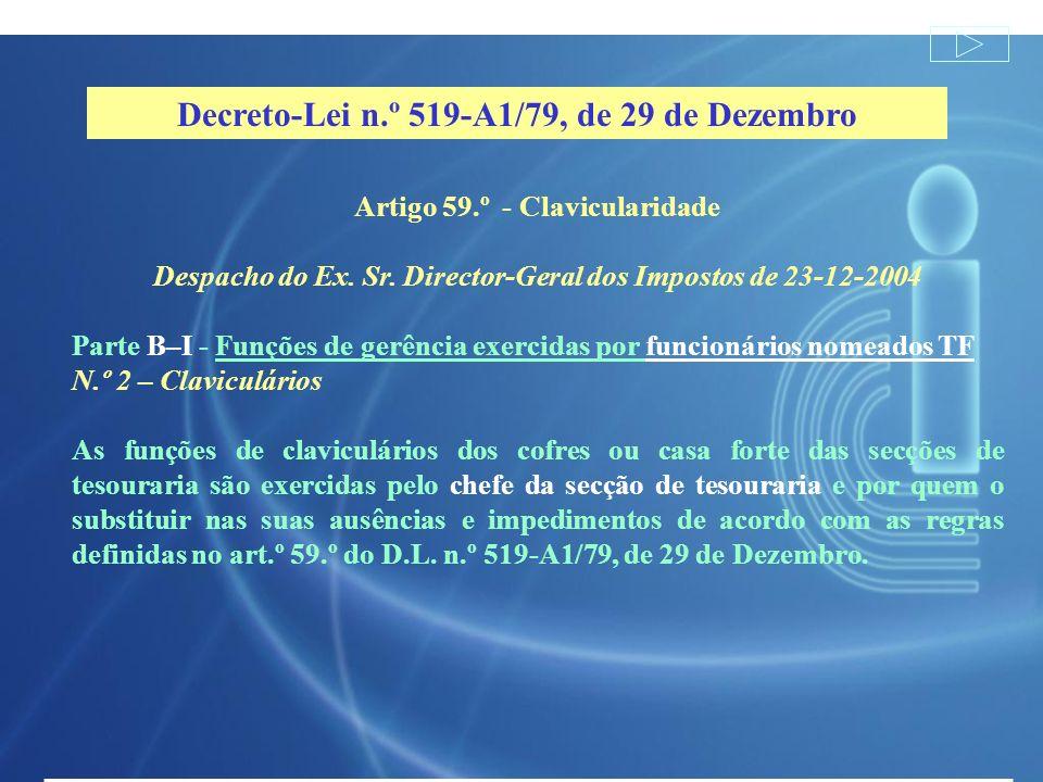 Artigo 59.º - Clavicularidade Despacho do Ex. Sr. Director-Geral dos Impostos de 23-12-2004 Parte B–I - Funções de gerência exercidas por funcionários