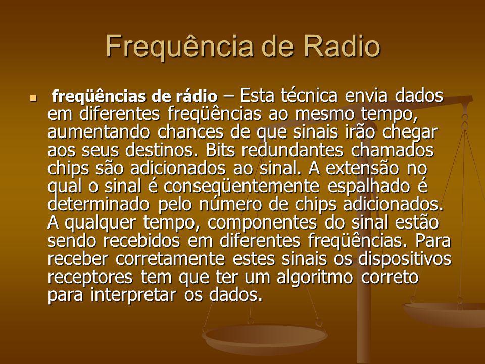 Frequência de Radio freqüências de rádio – Esta técnica envia dados em diferentes freqüências ao mesmo tempo, aumentando chances de que sinais irão ch