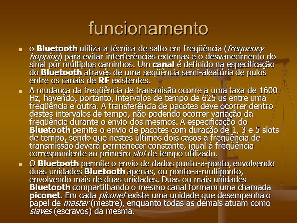 funcionamento o Bluetooth utiliza a técnica de salto em freqüência (frequency hopping) para evitar interferências externas e o desvanecimento do sinal