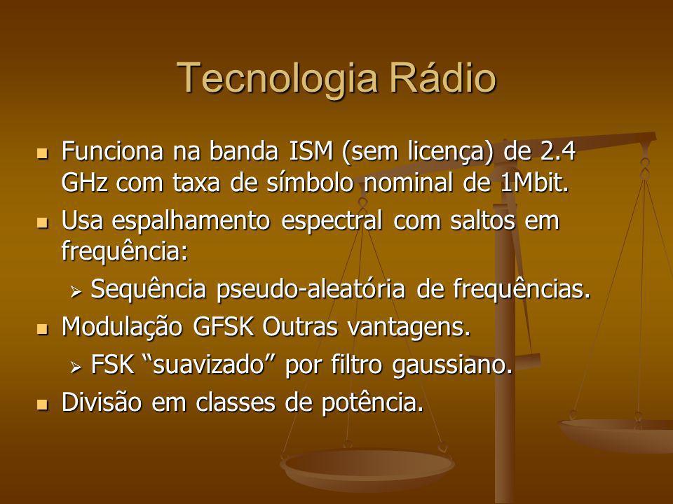 Tecnologia Rádio Funciona na banda ISM (sem licença) de 2.4 GHz com taxa de símbolo nominal de 1Mbit. Funciona na banda ISM (sem licença) de 2.4 GHz c