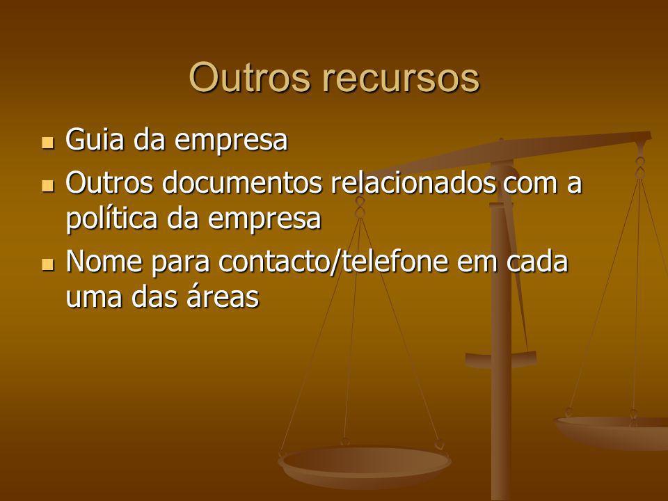 Outros recursos Guia da empresa Guia da empresa Outros documentos relacionados com a política da empresa Outros documentos relacionados com a política