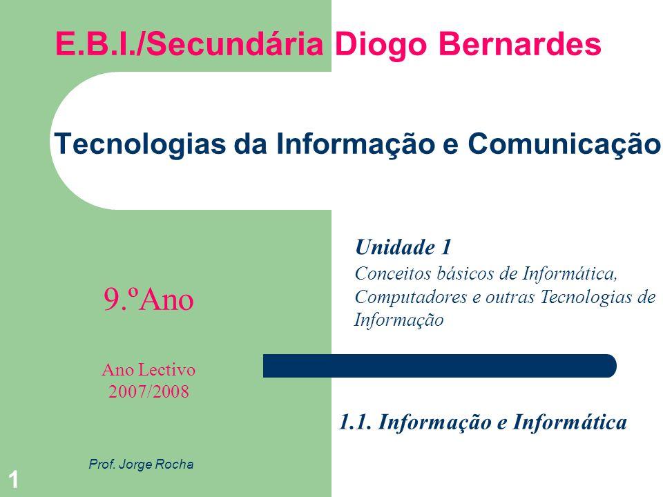 1 Tecnologias da Informação e Comunicação Prof. Jorge Rocha Unidade 1 9.ºAno E.B.I./Secundária Diogo Bernardes Ano Lectivo 2007/2008 Conceitos básicos