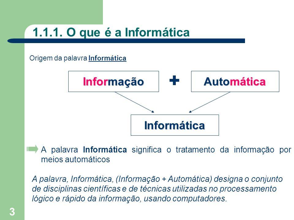 3 1.1.1. O que é a Informática Informação + Automática Informática A palavra Informática significa o tratamento da informação por meios automáticos A