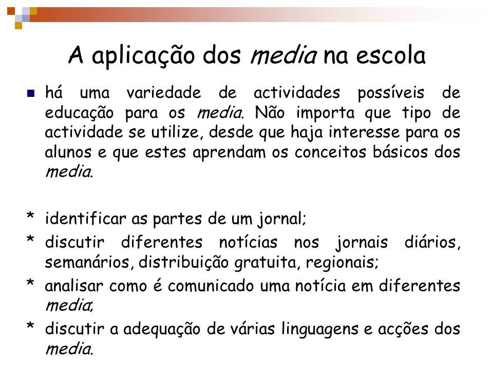 A aplicação dos media na escola há uma variedade de actividades possíveis de educação para os media. Não importa que tipo de actividade se utilize, de