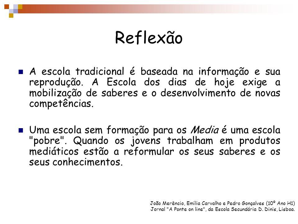 Reflexão A escola tradicional é baseada na informação e sua reprodução. A Escola dos dias de hoje exige a mobilização de saberes e o desenvolvimento d