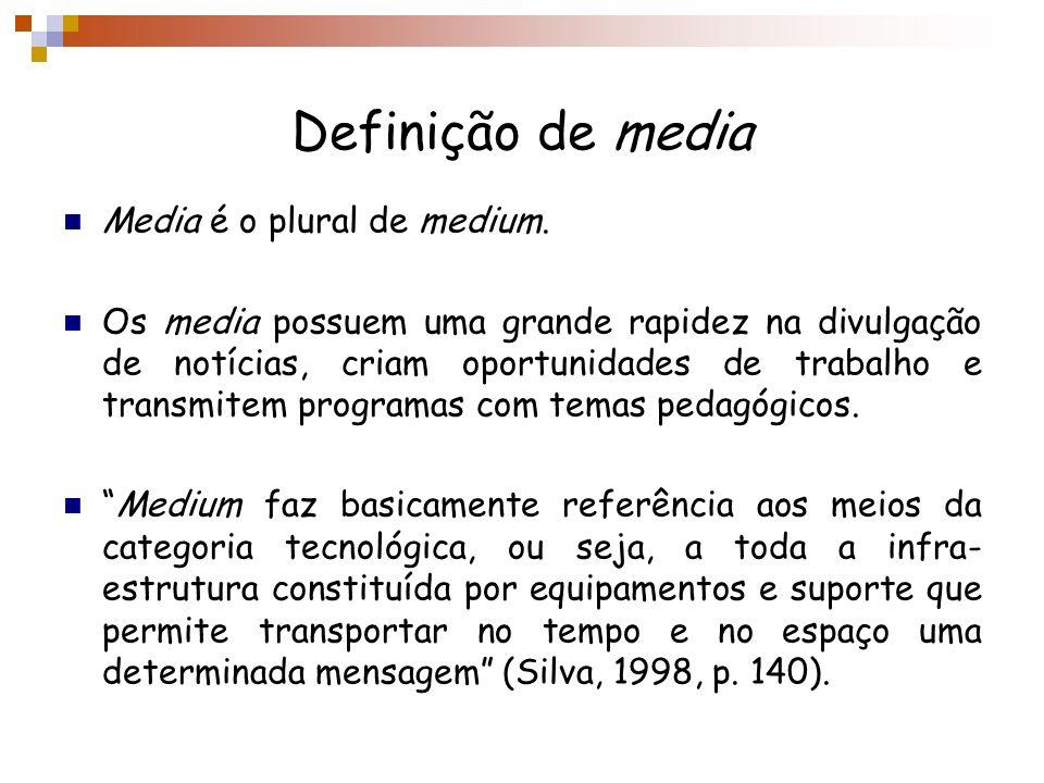 Definição de media Media é o plural de medium. Os media possuem uma grande rapidez na divulgação de notícias, criam oportunidades de trabalho e transm