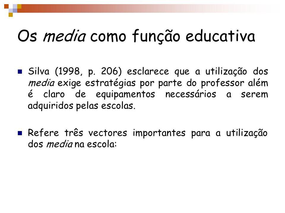 Os media como função educativa Silva (1998, p. 206) esclarece que a utilização dos media exige estratégias por parte do professor além é claro de equi