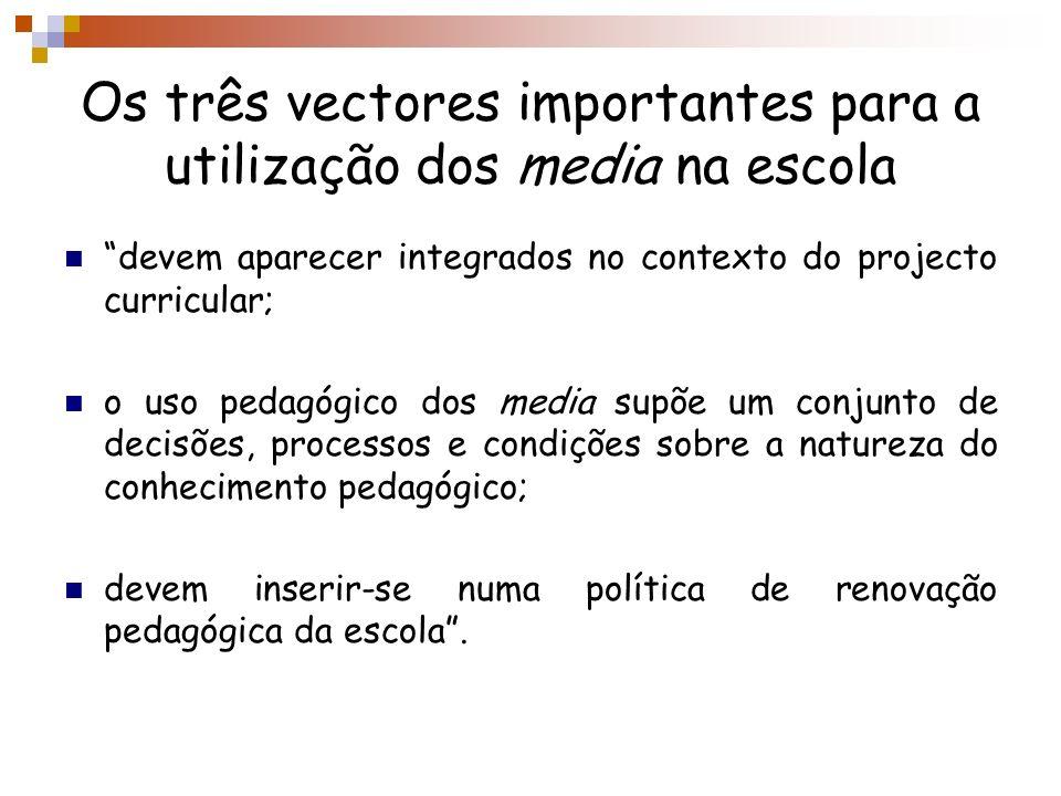 Os três vectores importantes para a utilização dos media na escola devem aparecer integrados no contexto do projecto curricular; o uso pedagógico dos