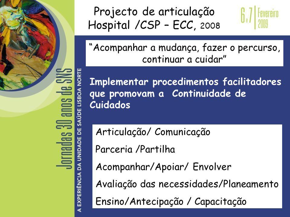 Projecto de articulação Hospital /CSP – ECC, 2008 Acompanhar a mudança, fazer o percurso, continuar a cuidar Implementar procedimentos facilitadores q