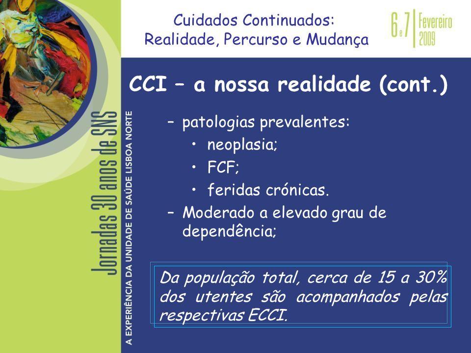 –patologias prevalentes: neoplasia; FCF; feridas crónicas. –Moderado a elevado grau de dependência; Cuidados Continuados: Realidade, Percurso e Mudanç